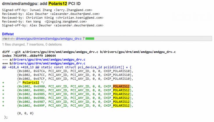 GPU Polaris 12, вероятно, предназначен для мобильного сегмента