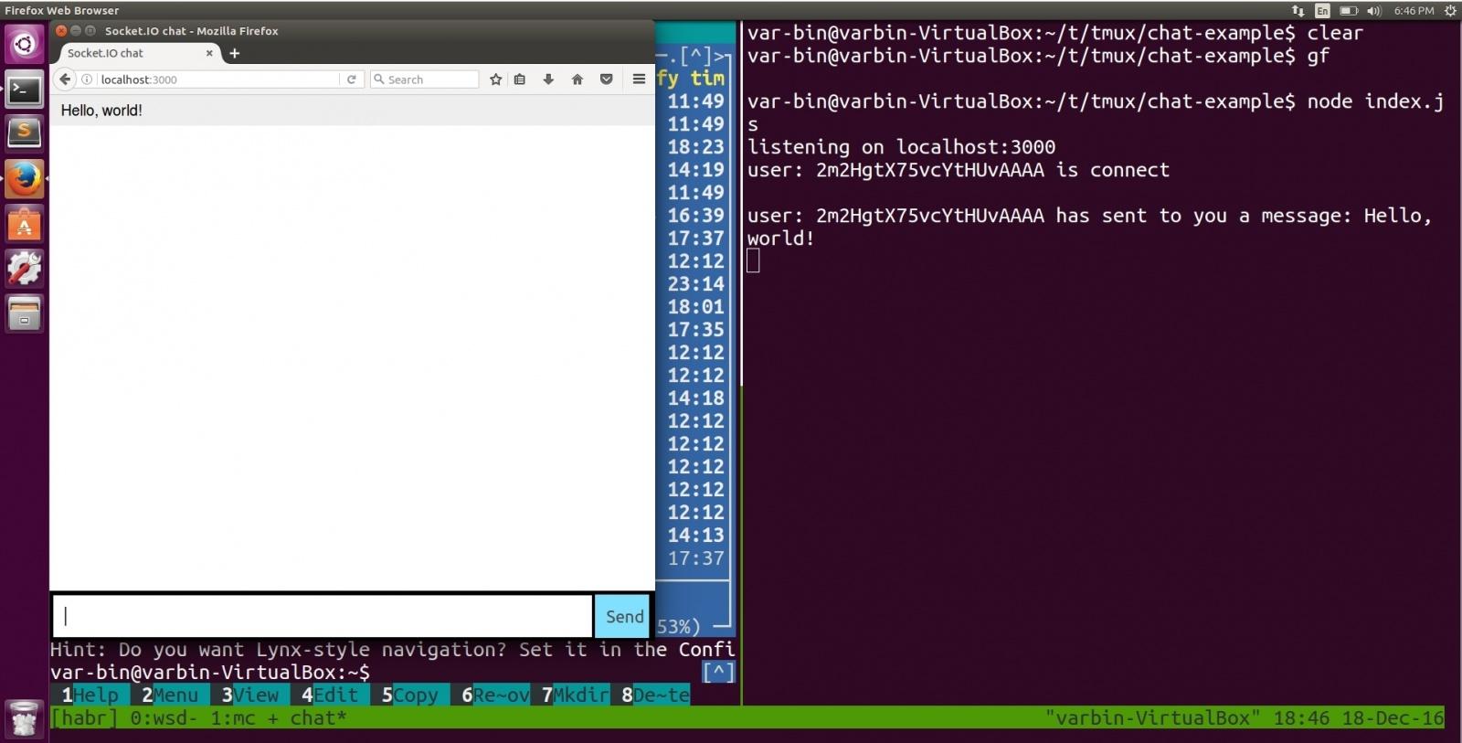 example tmux with node.js, socket.io, mc