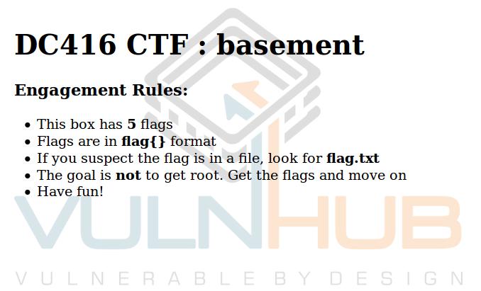VulnHub: Слепая эксплуатация и Брайнфак в DC416 Basement - 1