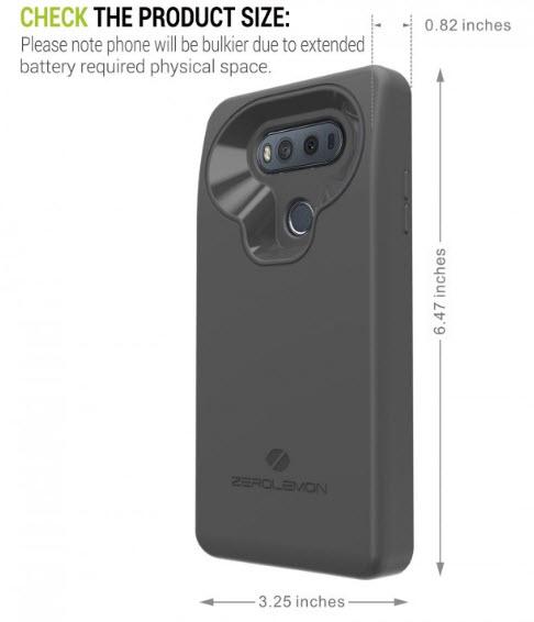 Чехол ZeroLemon для смартфона LG V20 содержит аккумулятор емкостью 10 000 мА•ч