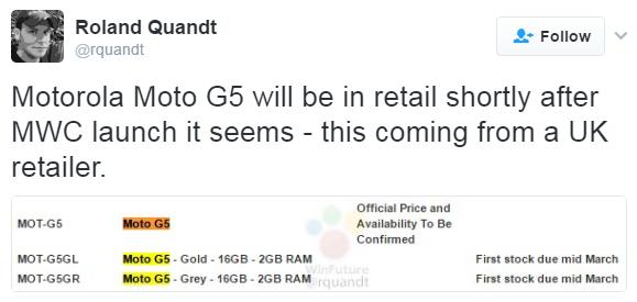 Смартфон Moto G5 ожидается в середине марта
