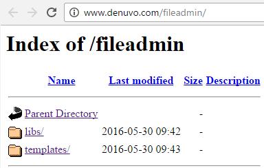 Компания Denuvo засветила директорию -fileadmin - 1