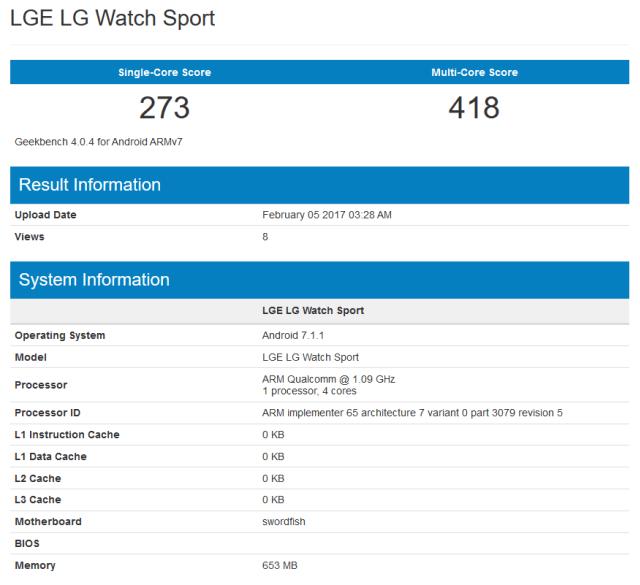 Умные часы LG Watch Sport протестированы в Geekbench