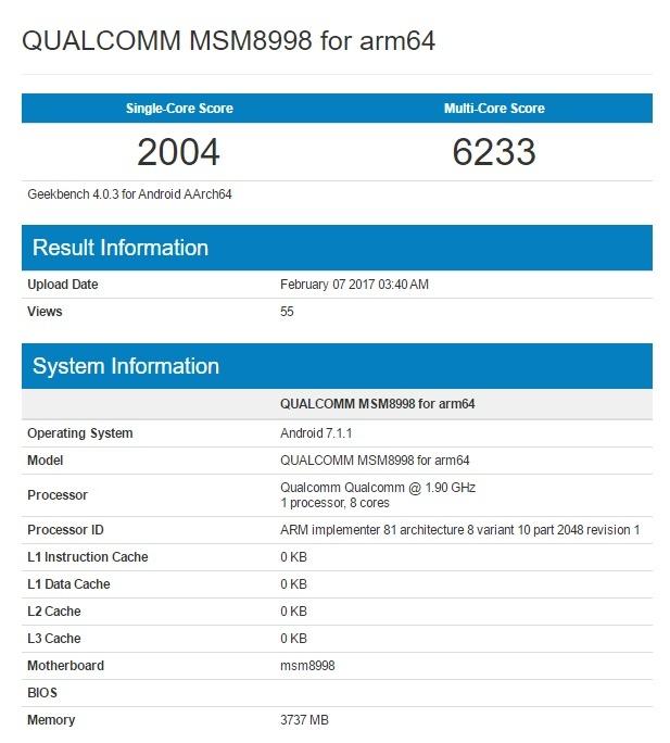 Новый смартфон с SoC Snapdragon 835 протестирован в GeekBench