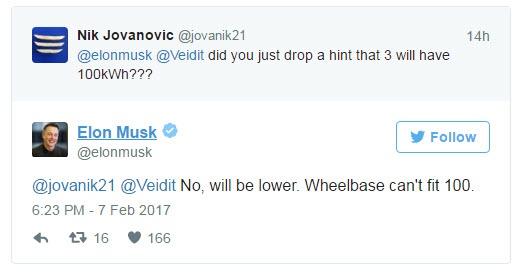 Емкость аккумуляторной батареи электромобиля Tesla Model 3 не достигнет 100 кВт•ч