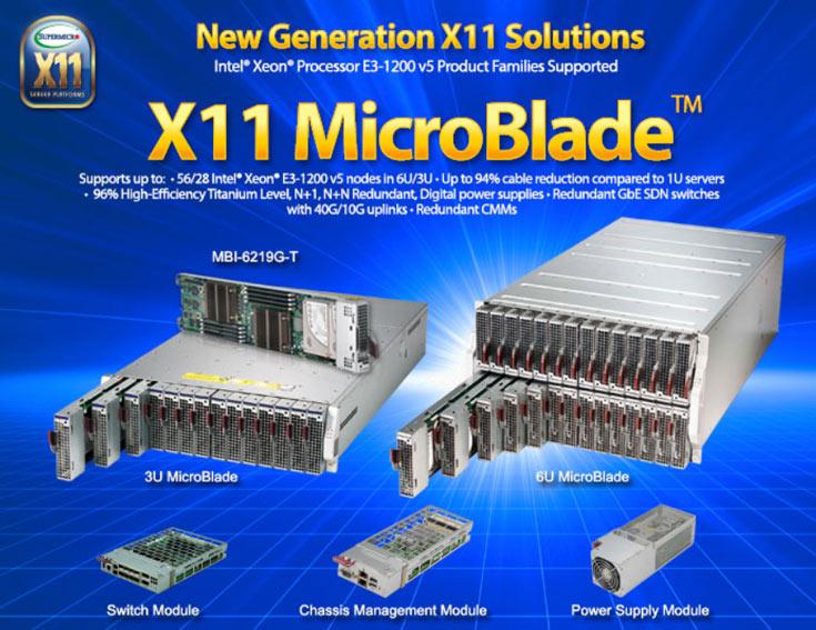 Серверы Supermicro MicroBlade устанавливаются по 14 или 18 в шасси 3U или 6U соответственно