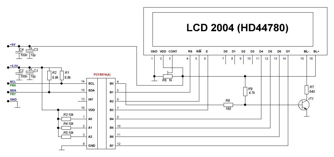Первые шаги с STM32 и компилятором mikroC для ARM архитектуры — Часть 4 — I2C, pcf8574 и подключение LCD на базе HD4478 - 5