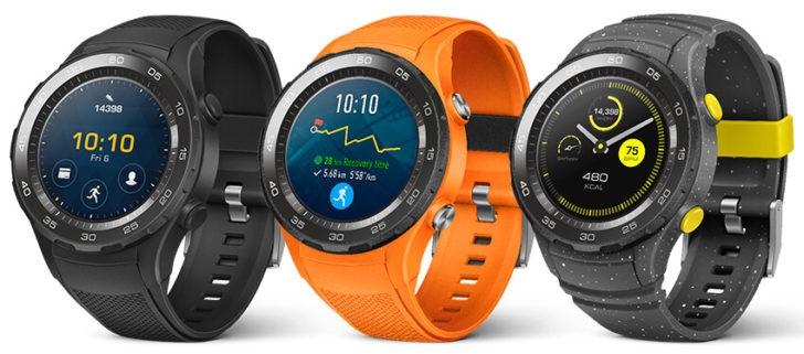 Изображения Huawei Watch 2 демонстрируют спортивные умные часы со слотом для карты Nano-SIM