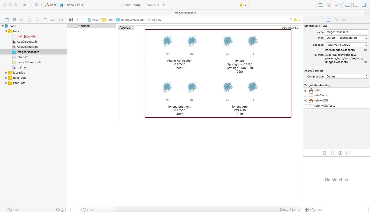Как добавить AppIcon и LaunchScreen в приложение на React Native - 2