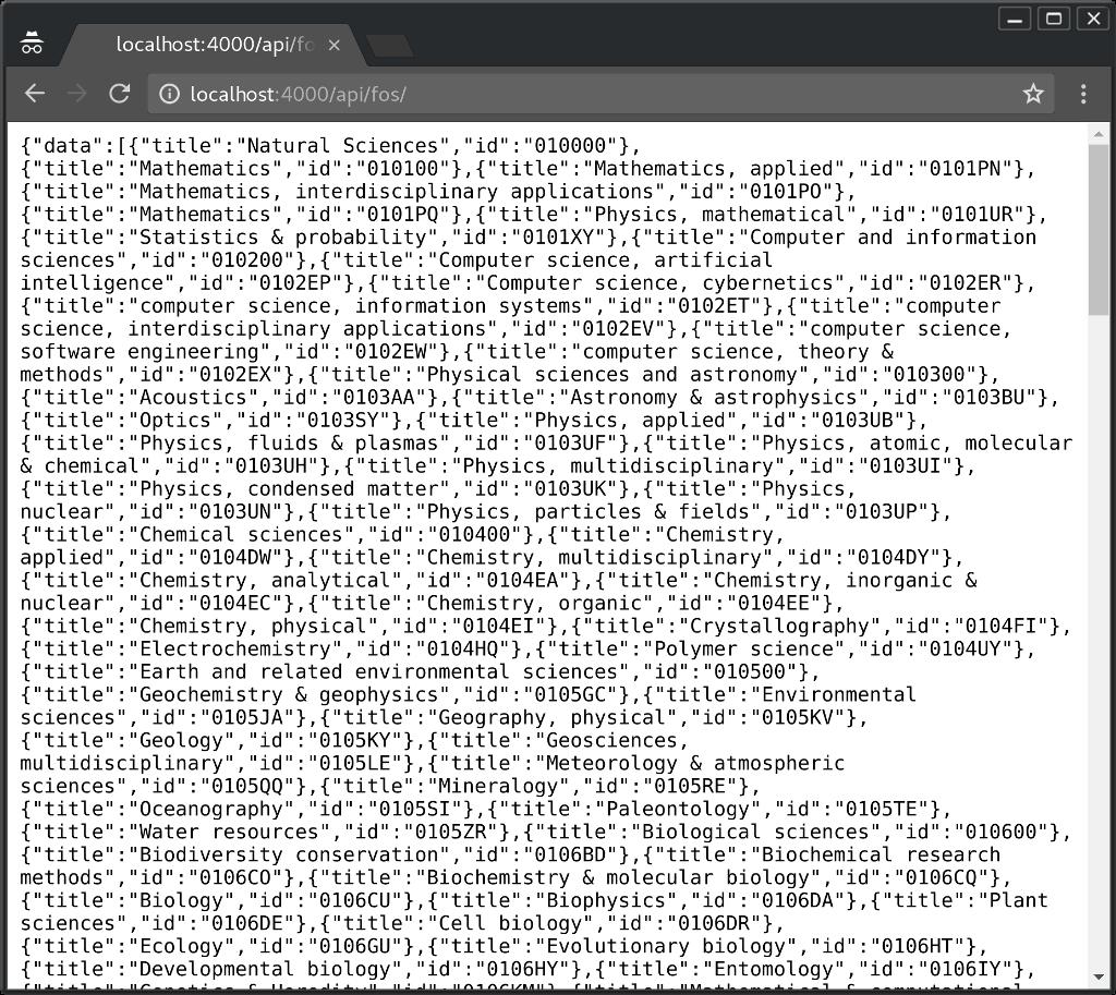 Fos dictionary browser screenshot
