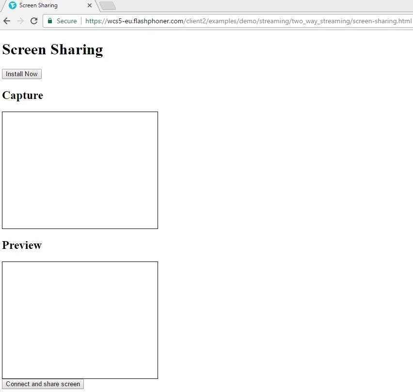 Cкринкастинг на сайте по WebRTC из браузера Chrome - 19