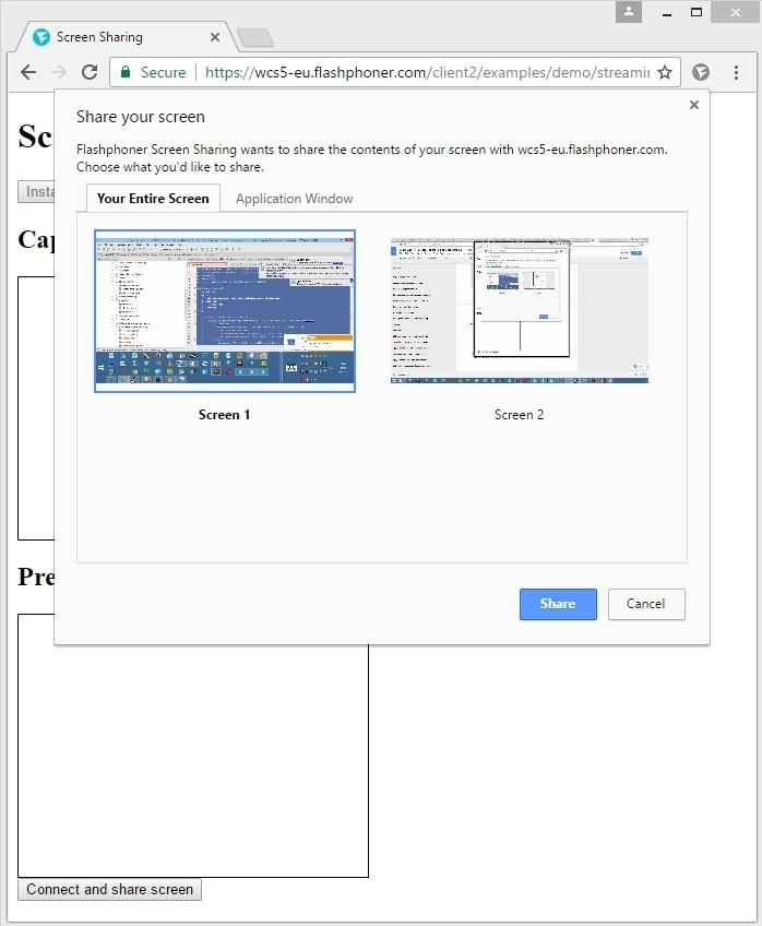Cкринкастинг на сайте по WebRTC из браузера Chrome - 24