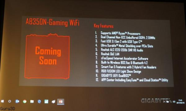 Gigabyte работает над системной платой AB350N-Gaming WiFi для процессоров AMD Ryzen
