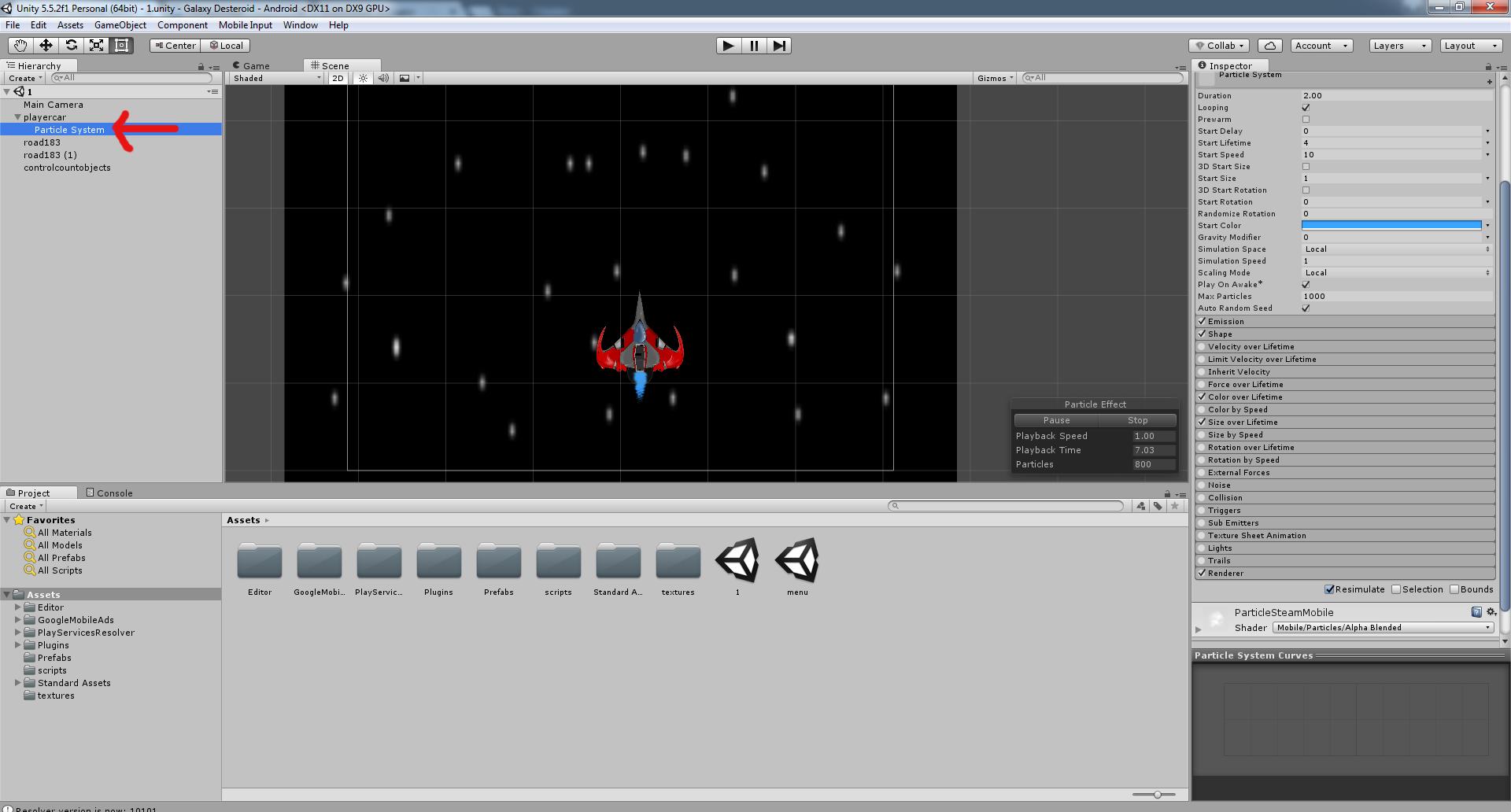 Разработка космической стрелялки для android с использованием игрового движка Unity3D - 16