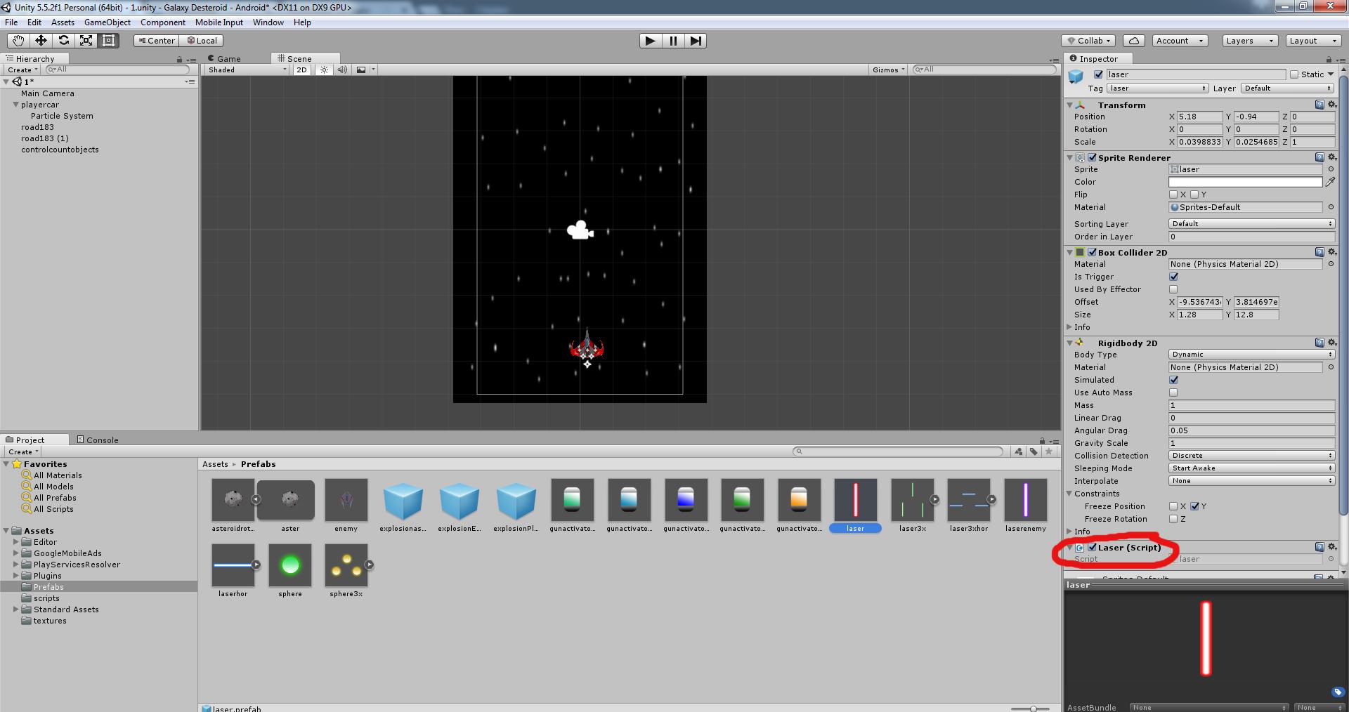 Разработка космической стрелялки для android с использованием игрового движка Unity3D - 20