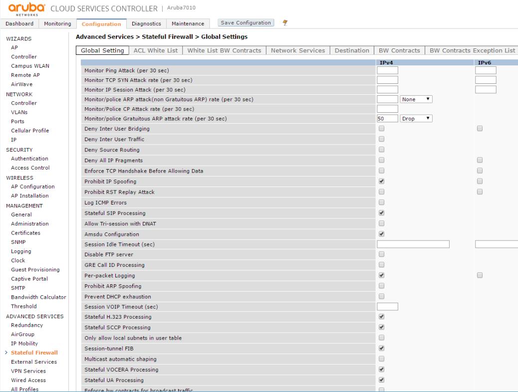 Интерфейсы контроллеров HPE Aruba и Cisco - 8