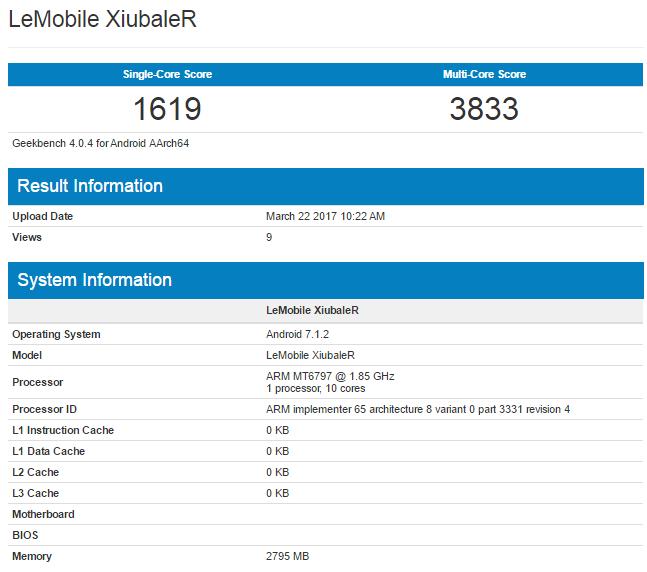 Смартфон LeEco XiubalerR оснащен Helio X20 и ОС Android 7.1.2