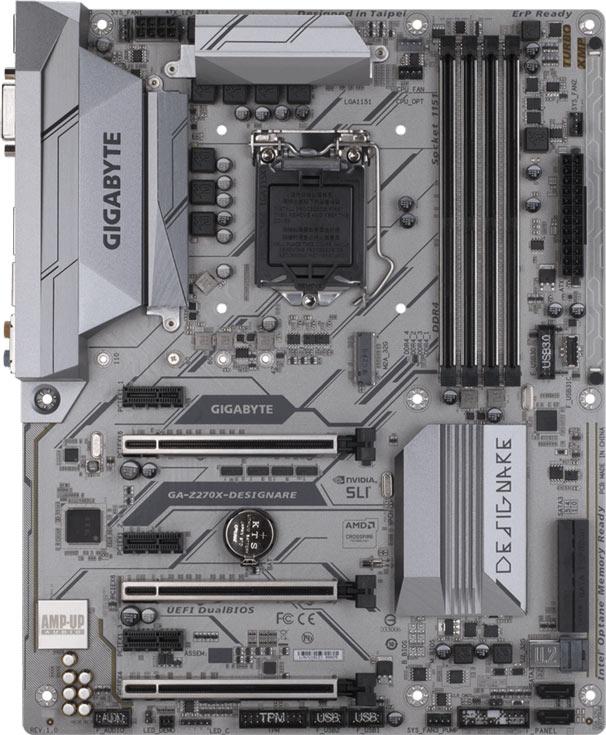 В оснащение платы с процессорным гнездом LGA 1151 входит четыре слота для модулей памяти DIMM DDR4
