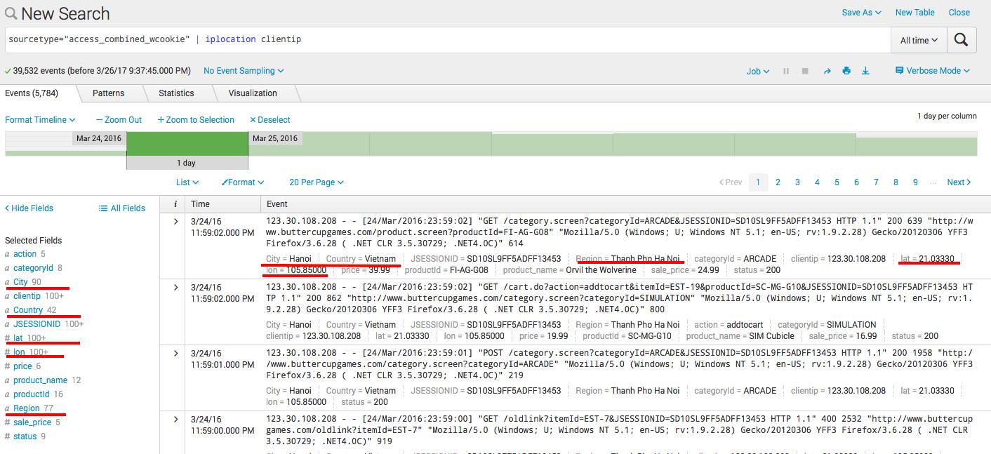 Splunk. Введение в анализ машинных данных — часть 2. Обогащение данных из внешних справочников и работа с гео-данными - 8