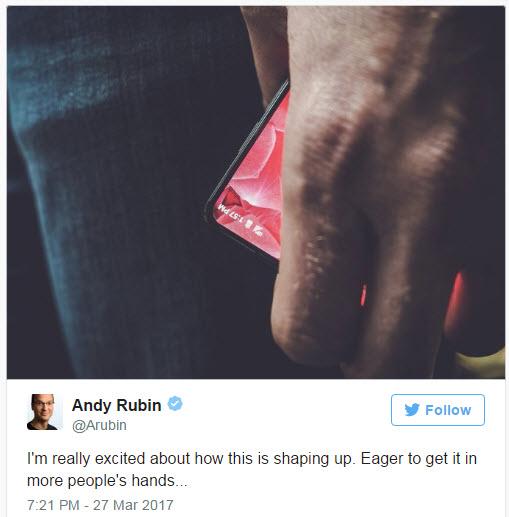 Энди Рубин опубликовал первое изображение своего нового смартфона, который получит безрамочный дизайн