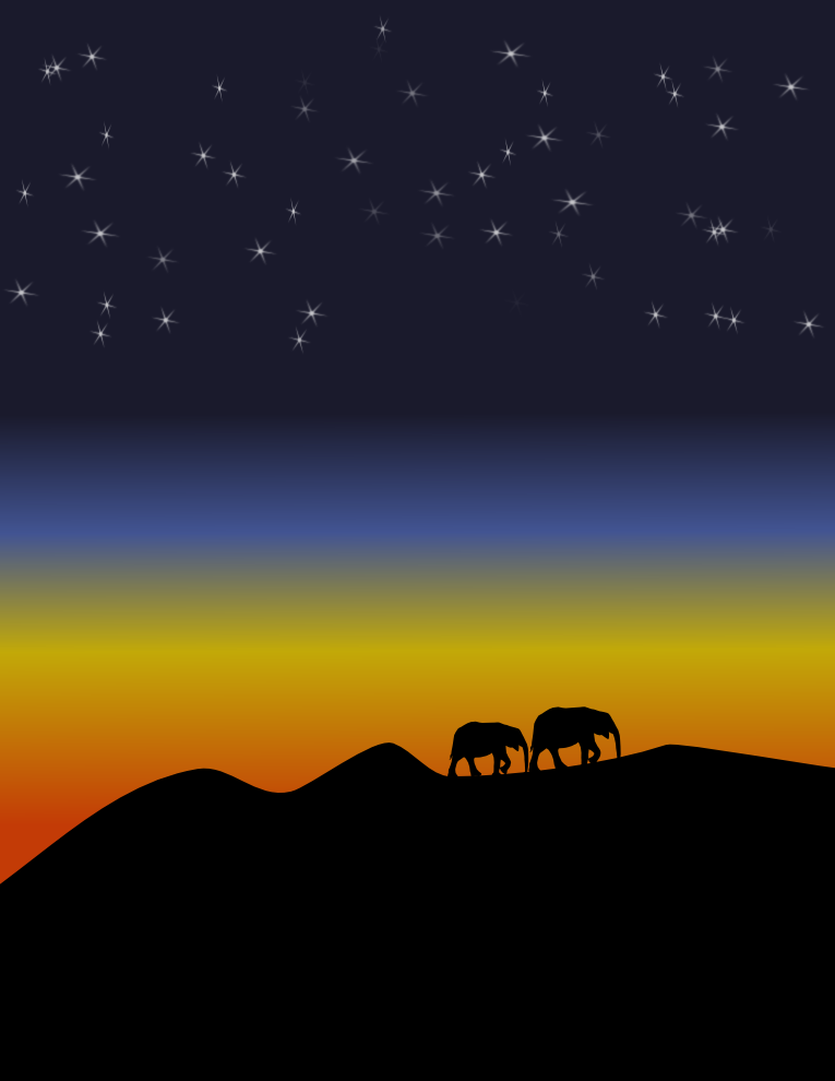 Inkscape в действии: закат со звездами - 1