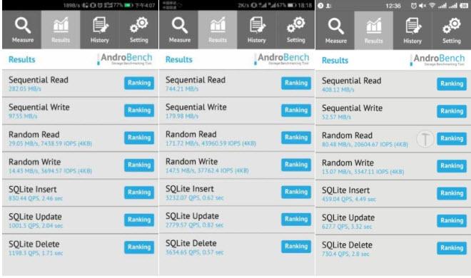 В смартфонах Huawei P10 встречается флэш-память UFS 2.1, UFS 2.0 и eMMC 5.1