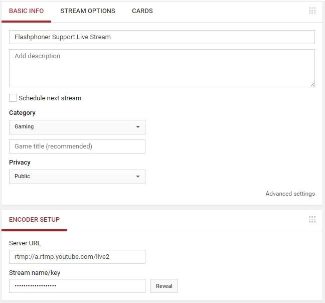 Транслируем видеопоток с веб-страницы по WebRTC на Facebook и YouTube одновременно - 8
