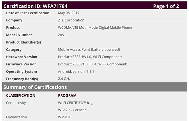 Смартфон ZTE Z851 работает под управлением Android 7.1.1 Nougat