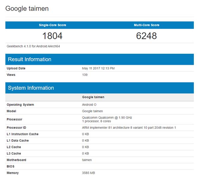 Смартфон Google Taimen основан на Snapdragon 835