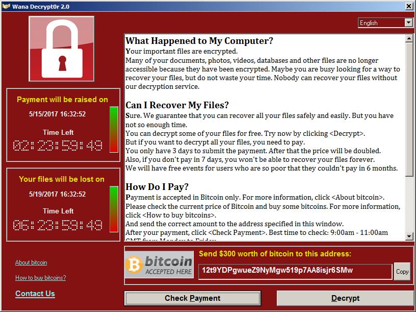 Ransomware day: массовое заражение Wana Decrypt0r - 1