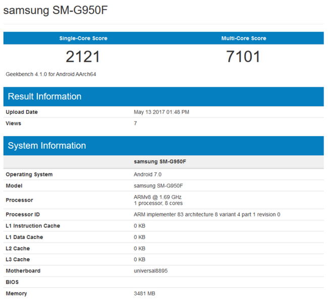 Смартфон Samsung Galaxy S8 с SoC Exynos 8895 набрал более 7000 баллов в Geekbench