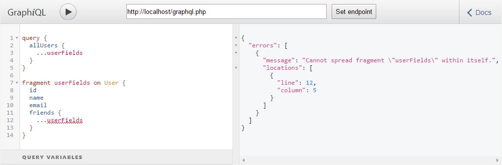 Ошибка в GraphQL запросе: Зацикливание фрагмента