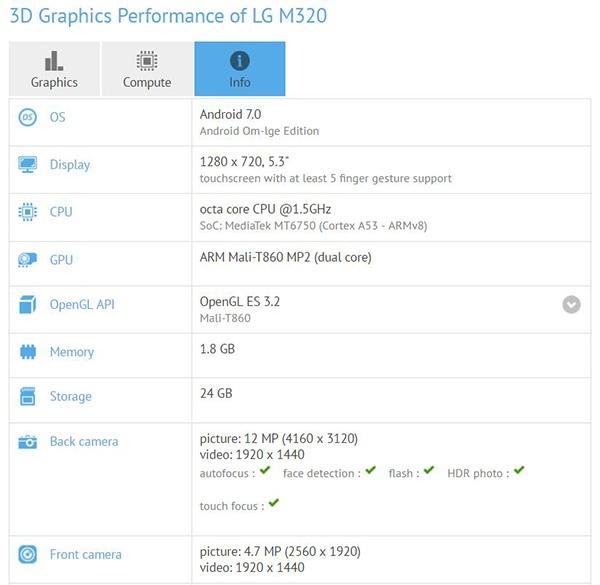 LG M320, характеристики