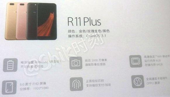 Oppo R11, характеристики