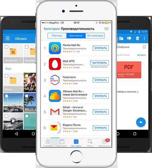 Мобильные приложения сейчас: Почта My.com и Mail.Ru, Новости, Облако, Гороскопы, Beepcar и другие. Лидеры по загрузкам и рейтингам.
