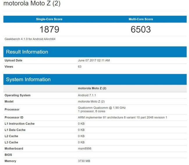 Флагманский смартфон Moto Z2, оснащенный SoC Snapdragon 835, протестирован в Geekbench