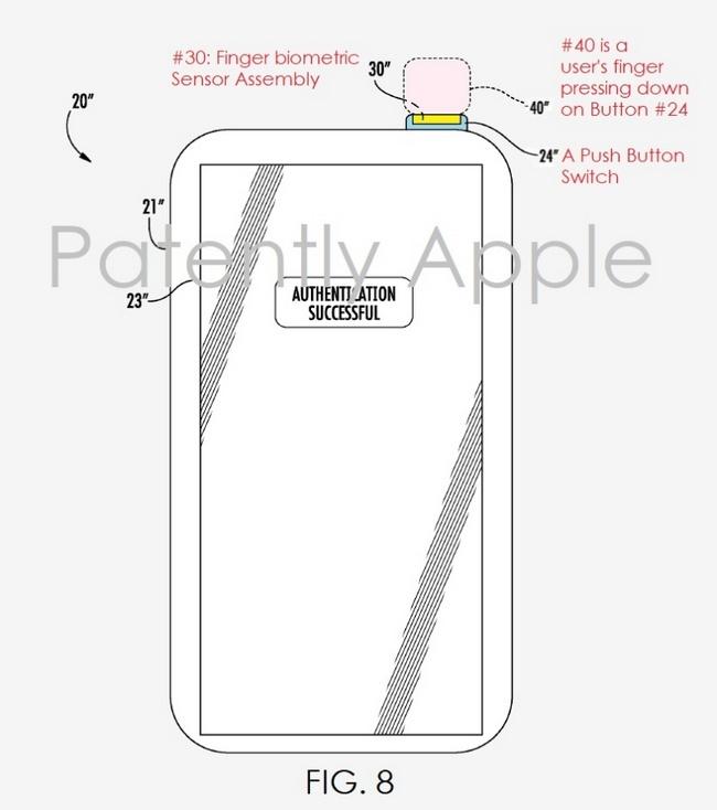 Сканер отпечатков пальцев iPhone 8 может находиться под кнопкой включения