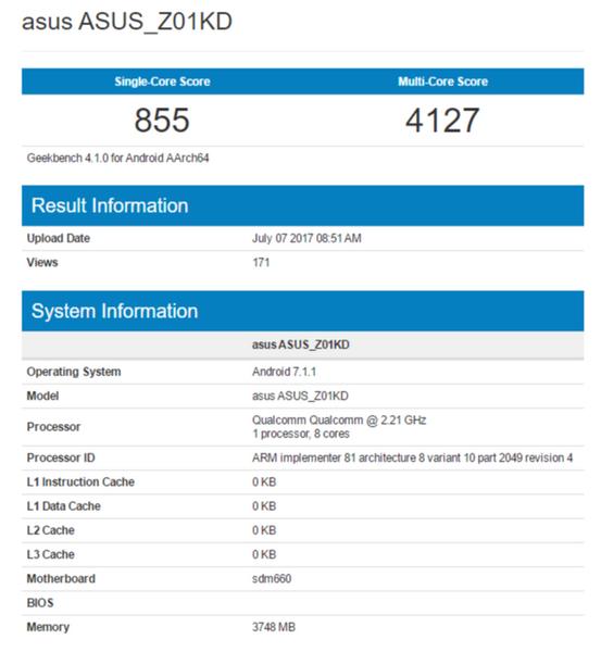 Смартфон Asus ZenFone 4 получит Snapdragon 630 и 660