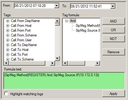 3CX Log Viewer - Filtering