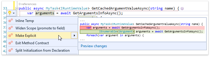 О поддержке языковых фич C# в Visual Studio и в CodeRush for Roslyn - 4