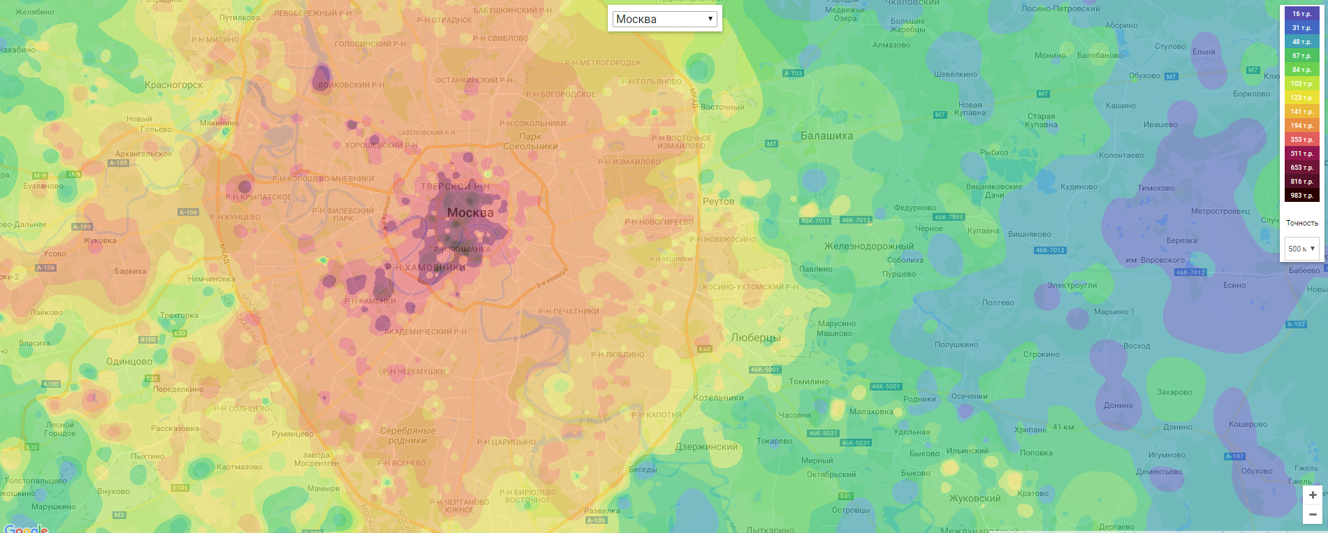 Тепловая карта цен Москвы
