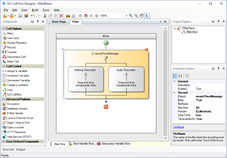 Отправка e-mail сообщения в среде разработки 3CX Call Flow Designer