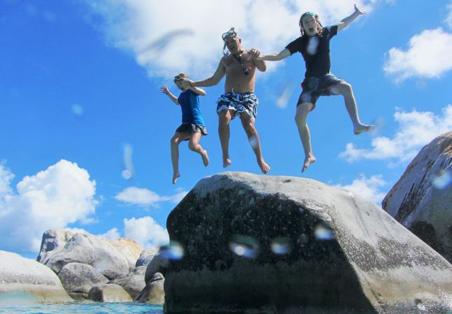 Jumping off a rock together