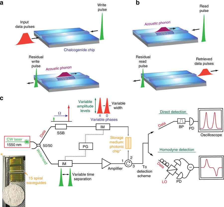 Фотонно-фононная память временно преобразует свет в звук для обработки - 1
