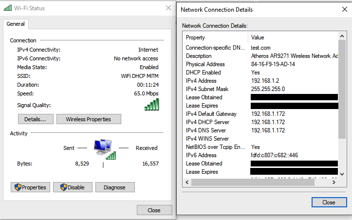 Client network settings