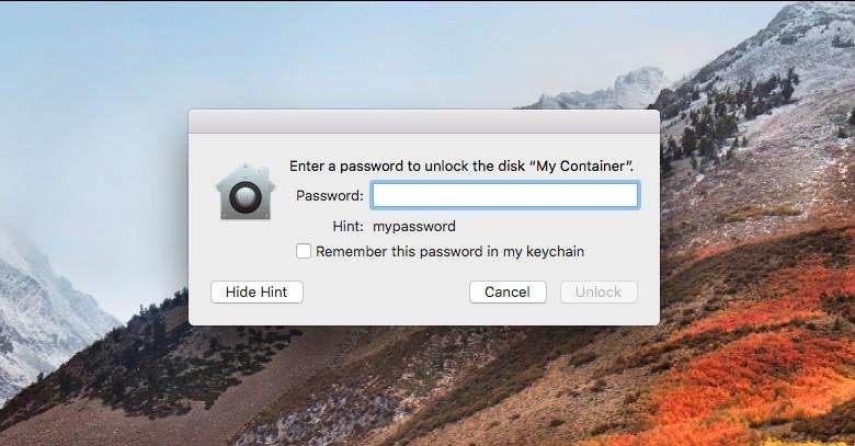 macOS High Sierra показывает пароль к зашифрованному тому вместо подсказки - 1