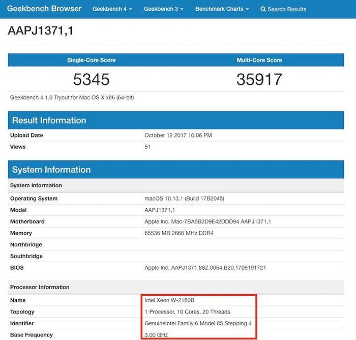 Новый моноблок iMac Pro с 10-ядерным процессором Xeon набирает более 35 000 баллов в Geekbench