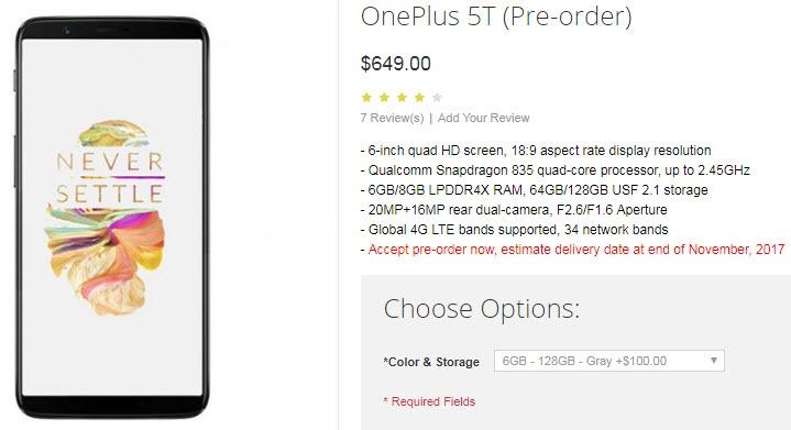Стартовал прием предварительных заказов на смартфон OnePlus 5T, который оценен в $549