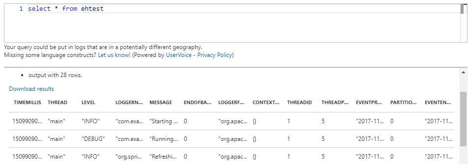Стриминг и анализ логов Java приложений в MS Azure с использованием Log4j и Stream Analytics - 3
